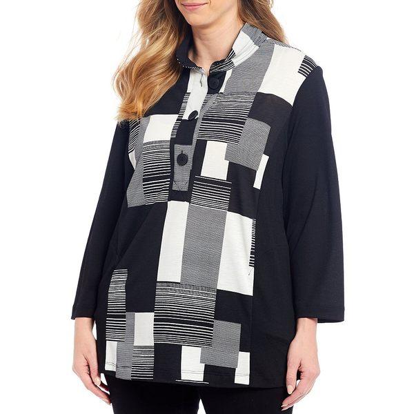 ジョンマーク レディース Tシャツ トップス Plus Size Crinkle Wire Neck Geometric Print Pocket Tunic Black/White