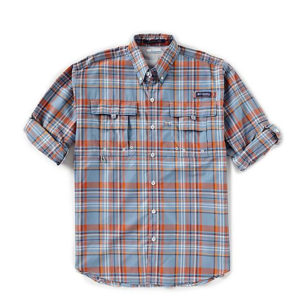 コロンビア メンズ シャツ トップス PFG Super Bahama Large Plaid Long-Sleeve Woven Shirt Backcountry Orange