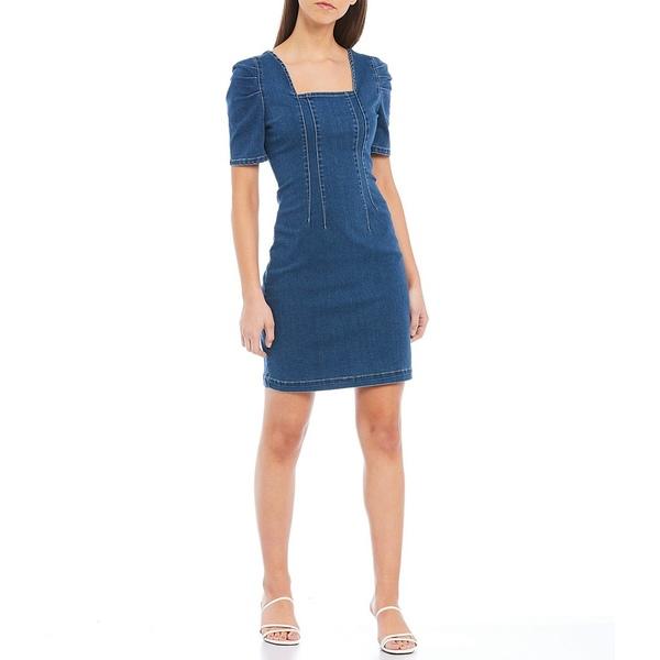 サンクチュアリー レディース ワンピース トップス Denim Melanie Puff Sleeve Square Neck Sheath Dress New Frontier