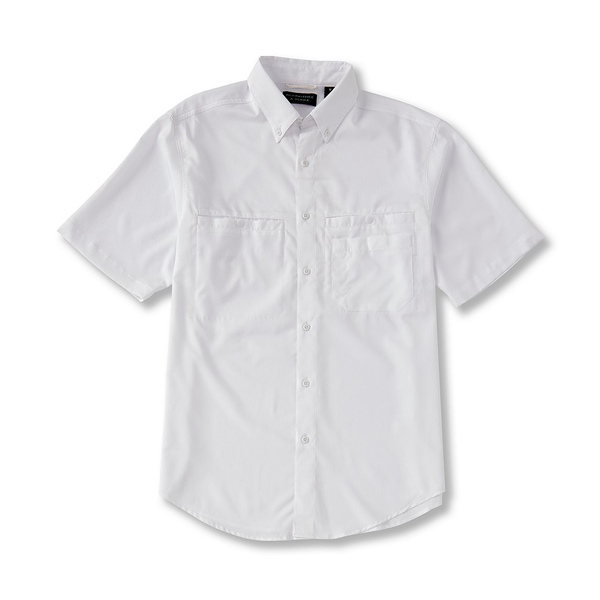ランドツリーアンドヨーク メンズ シャツ トップス Performance Big & Tall Short-Sleeve Checked Capeback Sportshirt White