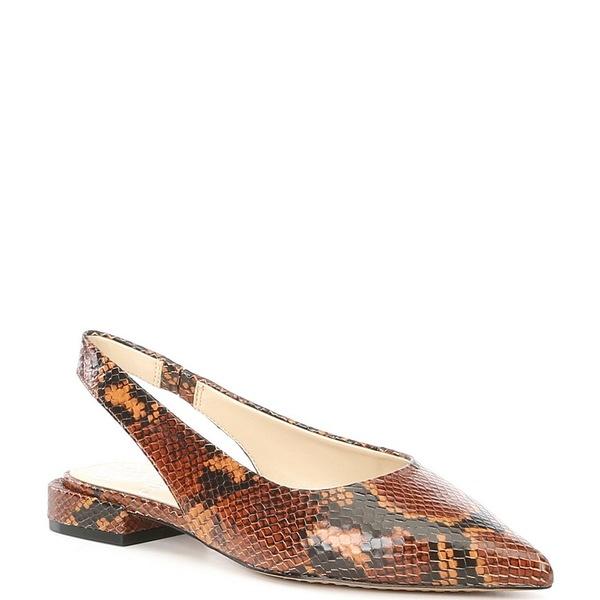 ヴィンスカムート レディース サンダル シューズ Chachen Snake Print Leather Pointed Toe Slingbacks Taupe Python