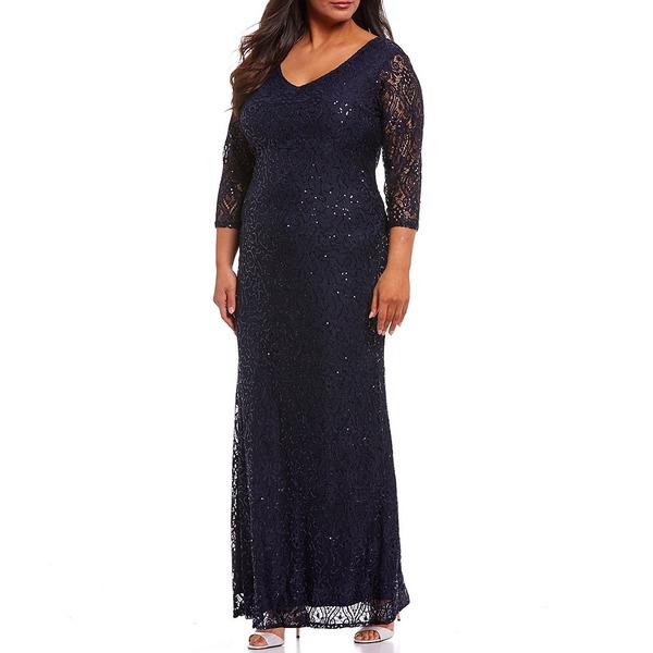 マリーナ レディース ワンピース トップス Plus V-Neck Illusion Sleeve Lace Gown Navy
