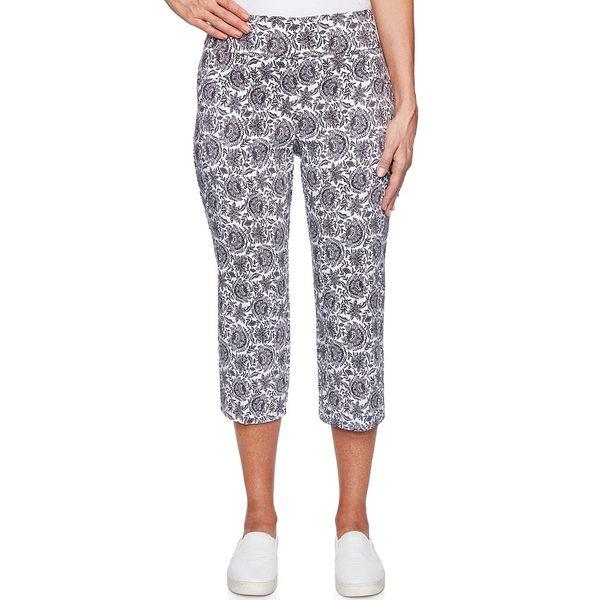 ルビーロード レディース カジュアルパンツ ボトムス Petite Size Tapestry Print Stretch Pull-On Capri Pants Black Multi