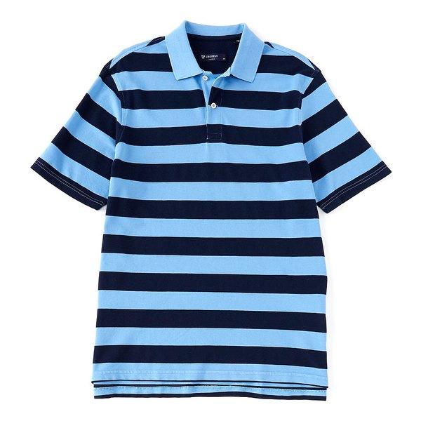 クレミュ メンズ ポロシャツ トップス Pique Stripe Short-Sleeve Polo Shirt Periwinkle