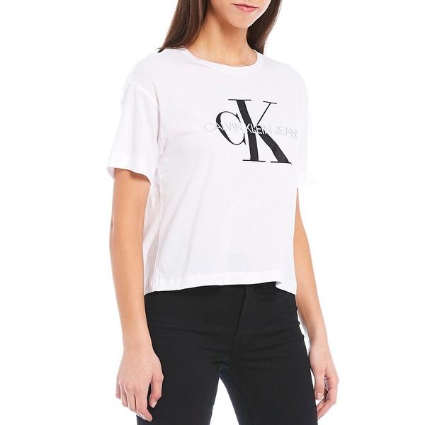 カルバンクライン レディース Tシャツ トップス Jeans Logo Short Sleeve Jersey Cotton Blend Boyfriend Tee White