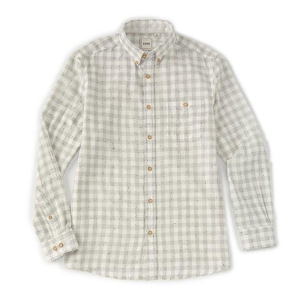 ロウン メンズ シャツ トップス Long-Sleeve Double-Faced Checked Sportshirt White