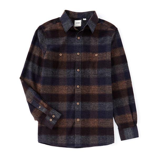 YUNY Mens Jacket Casual Plaid Tops Simple Long-Sleeve Dress Shirt Blue S