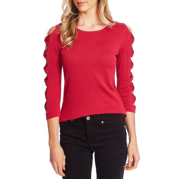 セセ レディース ニット&セーター アウター Bow Sleeve Round Neck Cotton Sweater Ruby Blush