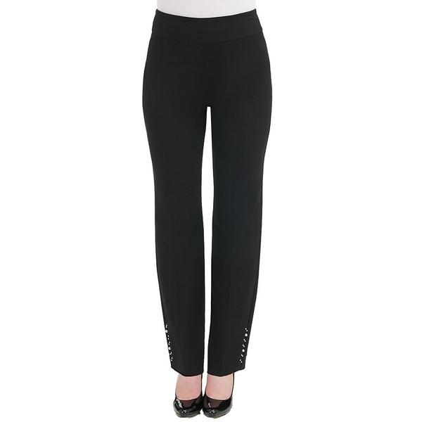 アリソンダーレイ レディース カジュアルパンツ ボトムス Petite Size Ponte Knit Contour Waist Pull-On Embellished Hem Pants Black