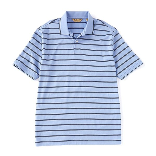 ランドツリーアンドヨーク メンズ ポロシャツ トップス Gold Label Roundtree & Yorke Perfect Performance Short-Sleeve Striped Non-Iron Polo Periwinkle
