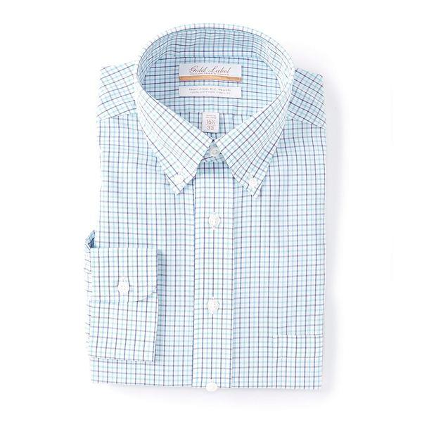 ランドツリーアンドヨーク メンズ シャツ トップス Gold Label Roundtree & Yorke Non-Iron Full Fit Button-Down Collar Multi-Colored Blue Checked Dress Shirt Aqua Multi