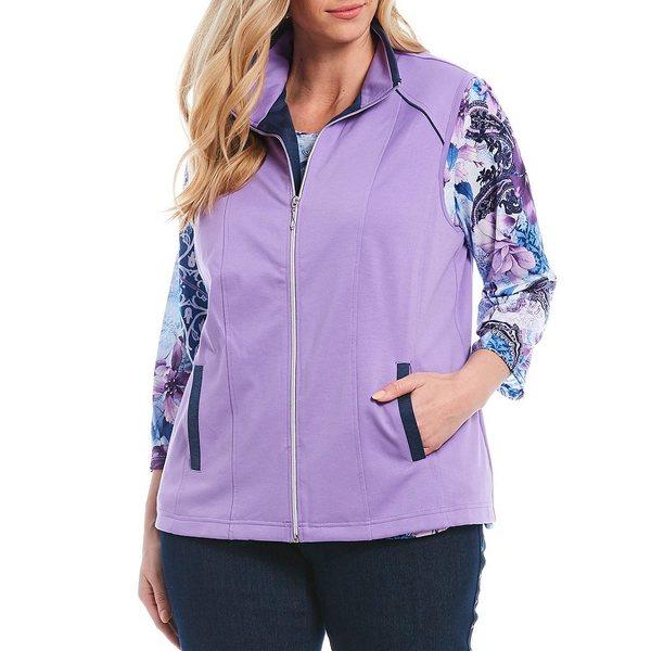 アリソンダーレイ レディース ジャケット&ブルゾン アウター Plus Size San Remo Knit Contrast Trim Zip-Front Vest Lilac