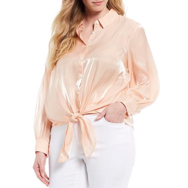 ヴィンスカムート レディース シャツ トップス Plus Size Long Sleeve Button Down Iridescent Tie Front Blouse Apricot Cream
