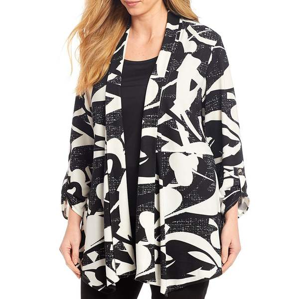 マルチプルズ レディース ジャケット&ブルゾン アウター Plus Size Abstract Print Banded Shawl Collar Open Front Jacket Black/White Print
