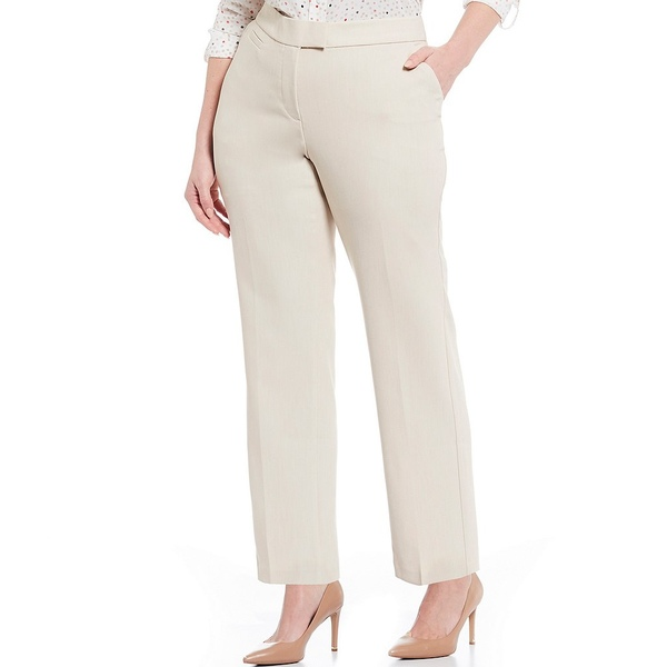 インベストメンツ レディース カジュアルパンツ ボトムス Plus Size the 5TH AVE fit Straight Leg Non-Wrinkle Two Way Stretch Pants Heather Sand