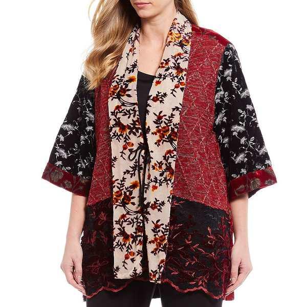 ジョンマーク レディース ジャケット&ブルゾン アウター Plus Size Velvet Knit Embroidered Lace Kimono Floral Print Jacket Multi