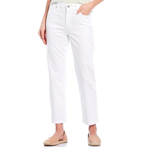 エイリーンフィッシャー レディース デニムパンツ ボトムス Garment Dyed Organic Cotton 5-Pocket Style High Waist Straight Ankle Stretch Denim Jeans White