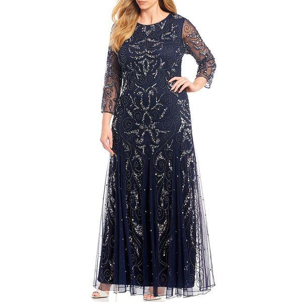 ピサッロナイツ レディース ワンピース トップス Plus Long Sleeve Beaded Gown Carbon