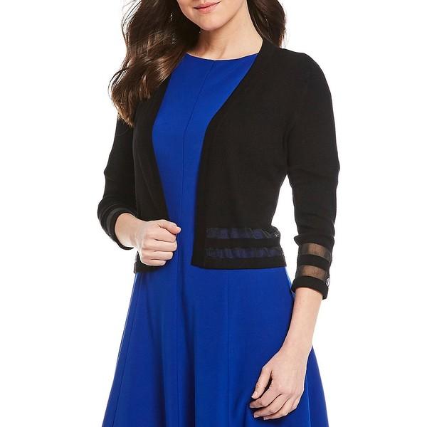 ジェシカハワード レディース ニット&セーター アウター Illusion Cutout 3/4 Sleeve Bolero Sweater Cardigan Black