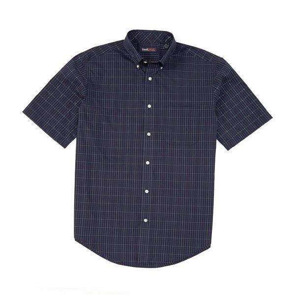 ランドツリーアンドヨーク メンズ シャツ トップス TravelSmart Big & Tall Short-Sleeve Tattersall Sportshirt Deep Blue
