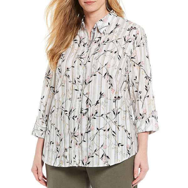アリソンダーレイ レディース シャツ トップス Plus Size Floral-Dobby Stripe Print 3/4 Roll-Tab Sleeve Button Front Shirt Olive Stripe