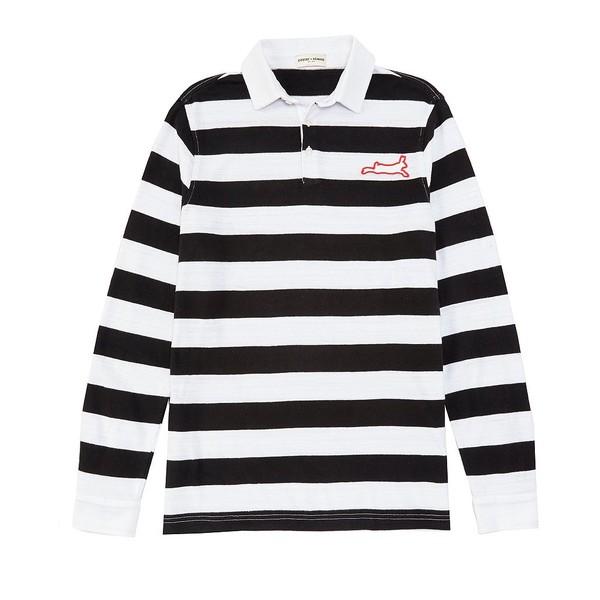 クロスビーハワード メンズ ポロシャツ トップス Long Sleeve Stripe Rugby Polo White