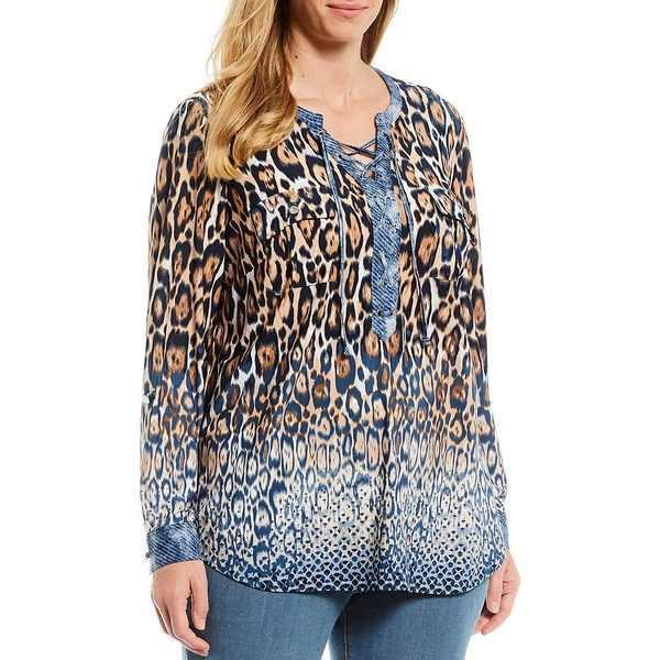 ピーターニガード レディース Tシャツ トップス Plus Size Knit Mixed Media Leopard Print Lace Up Front Detail Shirt Indigo/Cloud/Leopard