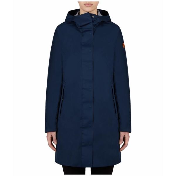 セーブザダック レディース コート アウター Bark X Long Hooded Coat Navy Blue
