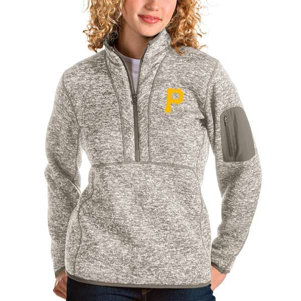 アンティグア レディース シャツ トップス Pittsburgh Pirates Antigua Women's Fortune Quarter-Zip Pullover Jacket Oatmeal