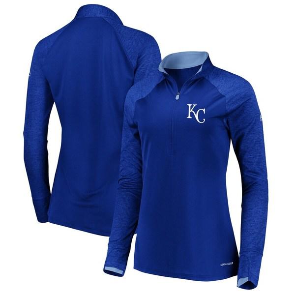 マジェスティック レディース ジャケット&ブルゾン アウター Kansas City Royals Majestic Women's Extremely Clear Cool Base Raglan 1/2-Zip Jacket Royal