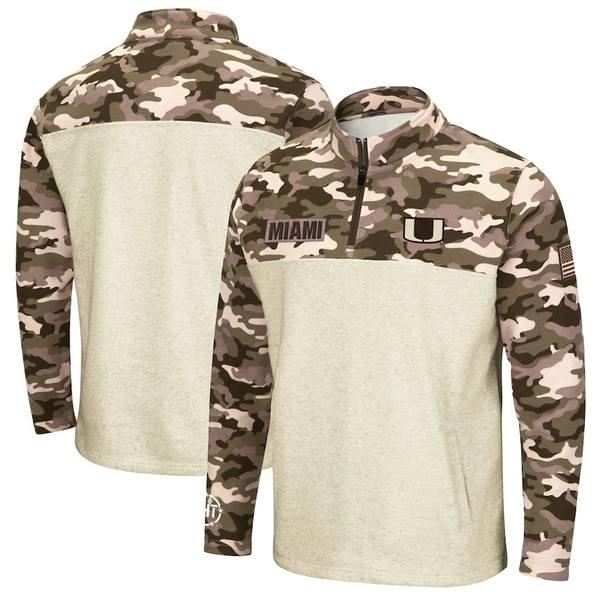 コロシアム メンズ ジャケット&ブルゾン アウター Miami Hurricanes Colosseum OHT Military Appreciation Desert Camo Quarter-Zip Pullover Jacket Oatmeal