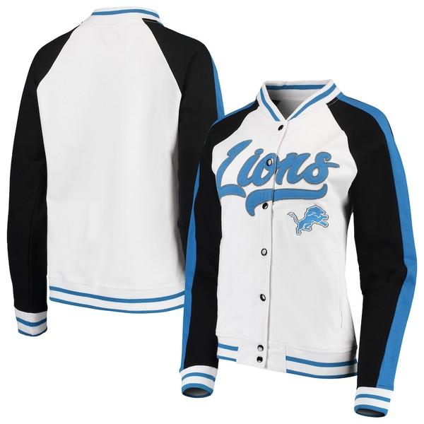 ニューエラ レディース ジャケット&ブルゾン アウター Detroit Lions New Era Women's Varsity Full Snap Jacket White/Black