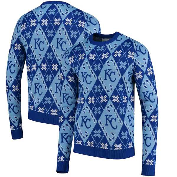 フォコ メンズ シャツ トップス Kansas City Royals Candy Cane Repeat Sweater Royal