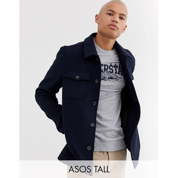 エイソス メンズ ジャケット&ブルゾン アウター ASOS DESIGN Tall wool mix utility bomber jacket in navy Navy