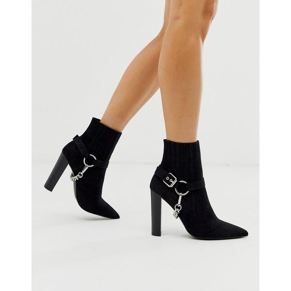 エイソス レディース ブーツ&レインブーツ シューズ ASOS DESIGN Empire hardware western ankle boots in black Black