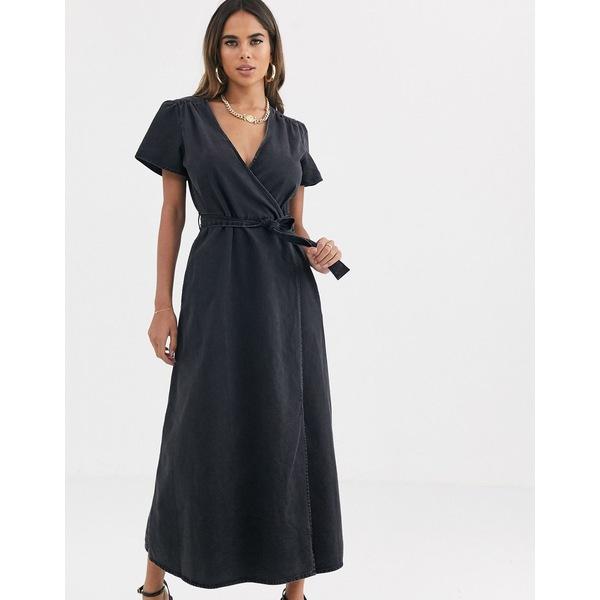 エイソス レディース ワンピース トップス ASOS DESIGN denim wrap midi dress in black Washed black