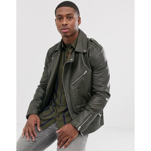 エイソス メンズ ジャケット&ブルゾン アウター ASOS DESIGN leather biker jacket in khaki Khaki