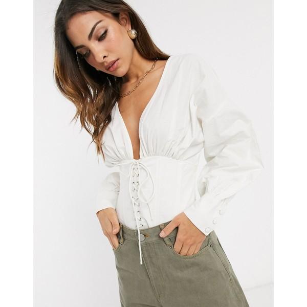 エイソス レディース シャツ トップス ASOS DESIGN cotton blouse with corset detail White