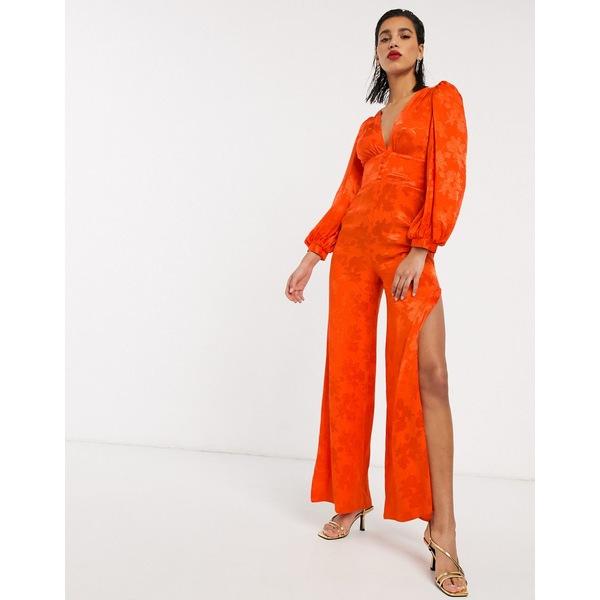 エイソス レディース ワンピース トップス ASOS DESIGN satin jumpsuit with blouson sleeve in orange floral jacquard Orange floral