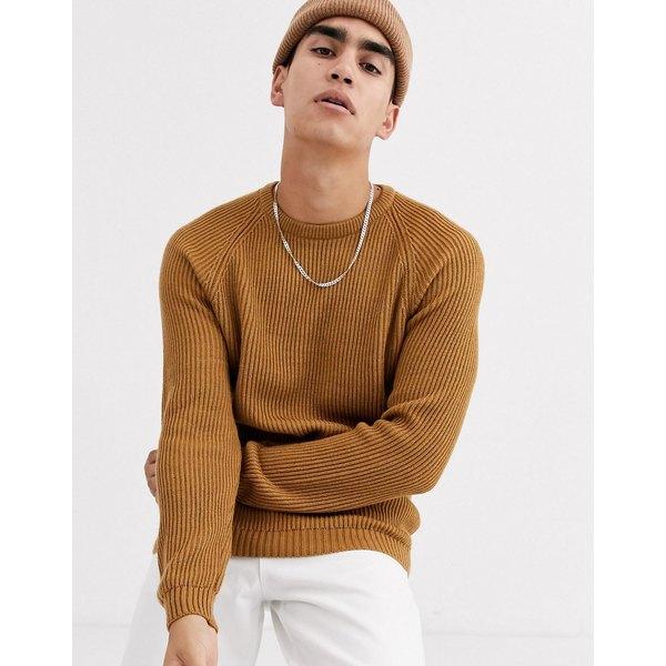 エイソス メンズ ニット&セーター アウター ASOS DESIGN ribbed sweater with raglan sleeve in tan Tan