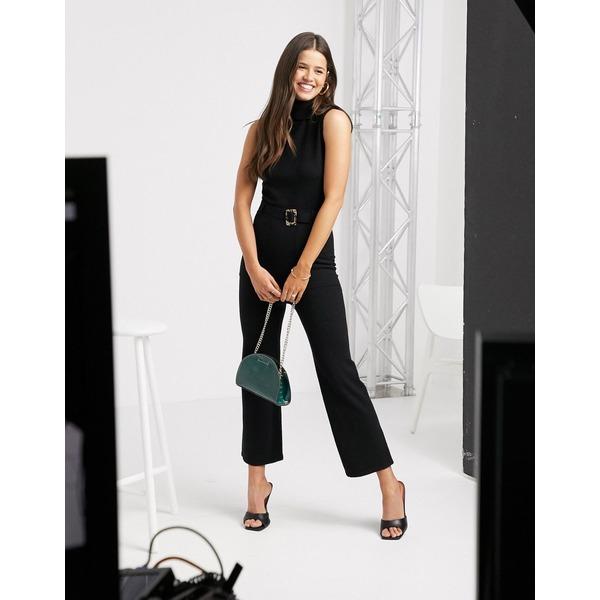 ファッションモンキー レディース ワンピース トップス Fashion Union knitted sleeveless jumpsuit with belt Black