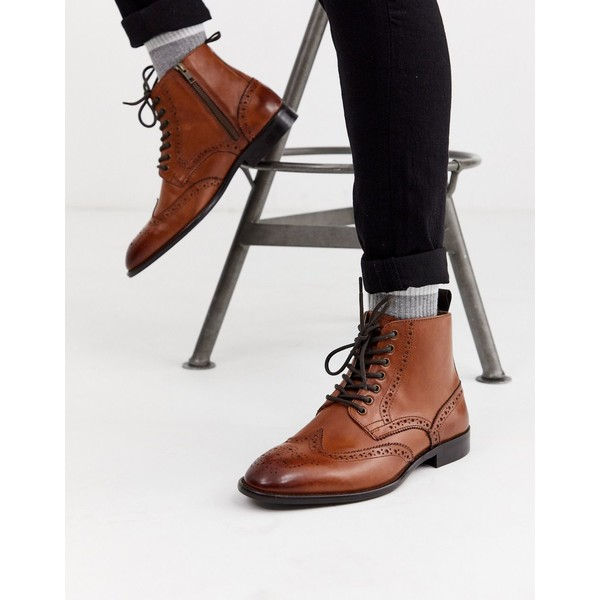 エイソス メンズ ブーツ&レインブーツ シューズ ASOS DESIGN brogue boots in tan leather with natural sole Tan