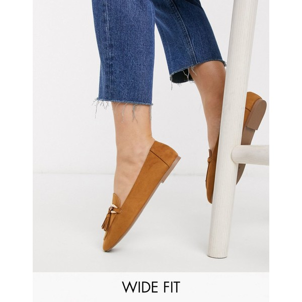 ロンドンレベル レディース スリッポン・ローファー シューズ London Rebel wide fit loafer in tan Tan