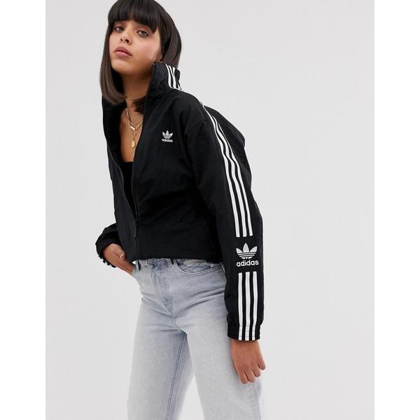 アディダスオリジナルス レディース ジャケット&ブルゾン アウター adidas Originals Locked Up logo track jacket in black Black