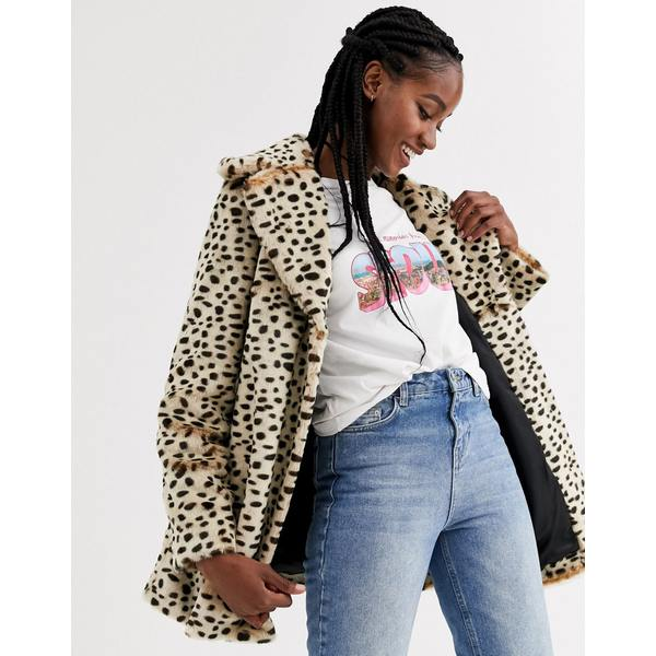 エイソス レディース コート アウター ASOS DESIGN animal cheetah faux fur coat Multi