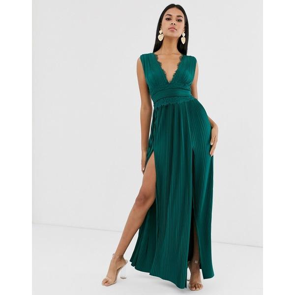 エイソス レディース ワンピース トップス ASOS DESIGN premium lace insert pleated maxi dress Forest green