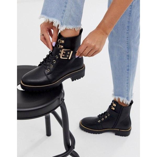 エイソス レディース ブーツ&レインブーツ シューズ ASOS DESIGN Armour chain lace up boots in black Black