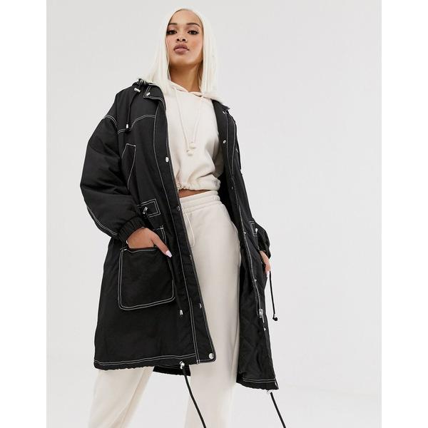 エイソス レディース コート アウター ASOS DESIGN contrast stitch raincoat in black Black