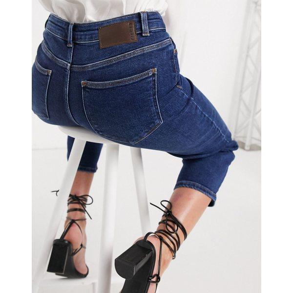ピーシーズ レディース デニムパンツ ボトムス Pieces wide leg cropped jeans in dark blue denim Blue