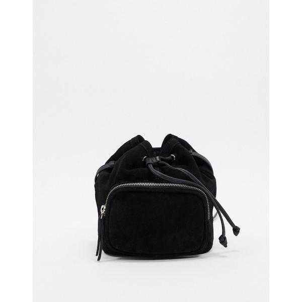 エイソス レディース 財布 アクセサリー ASOS DESIGN suede bucket bag with pocket Black